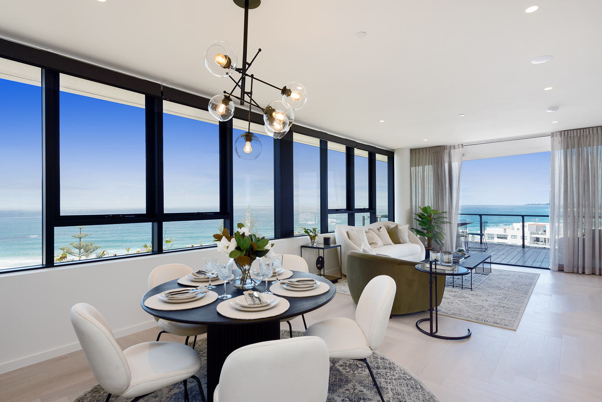 Open-plan living with amazing ocean views