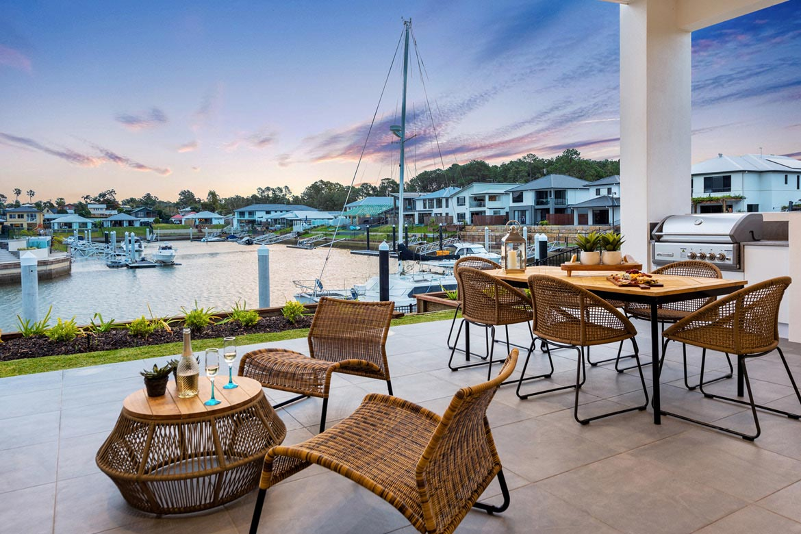 Stunning waterfront alfresco area with BBQ